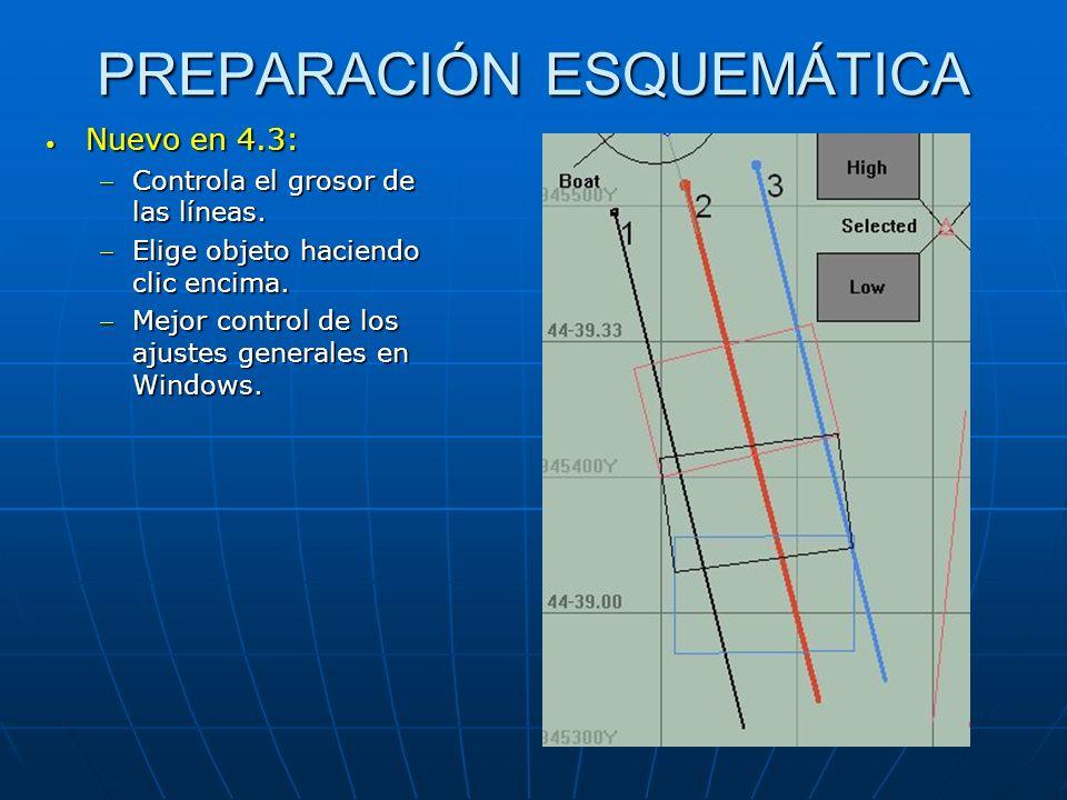 PREPARACIÓN ESQUEMÁTICA Nuevo en 4.3: Nuevo en 4.3: Controla el grosor de las líneas.Controla el grosor de las líneas. Elige objeto haciendo clic enci