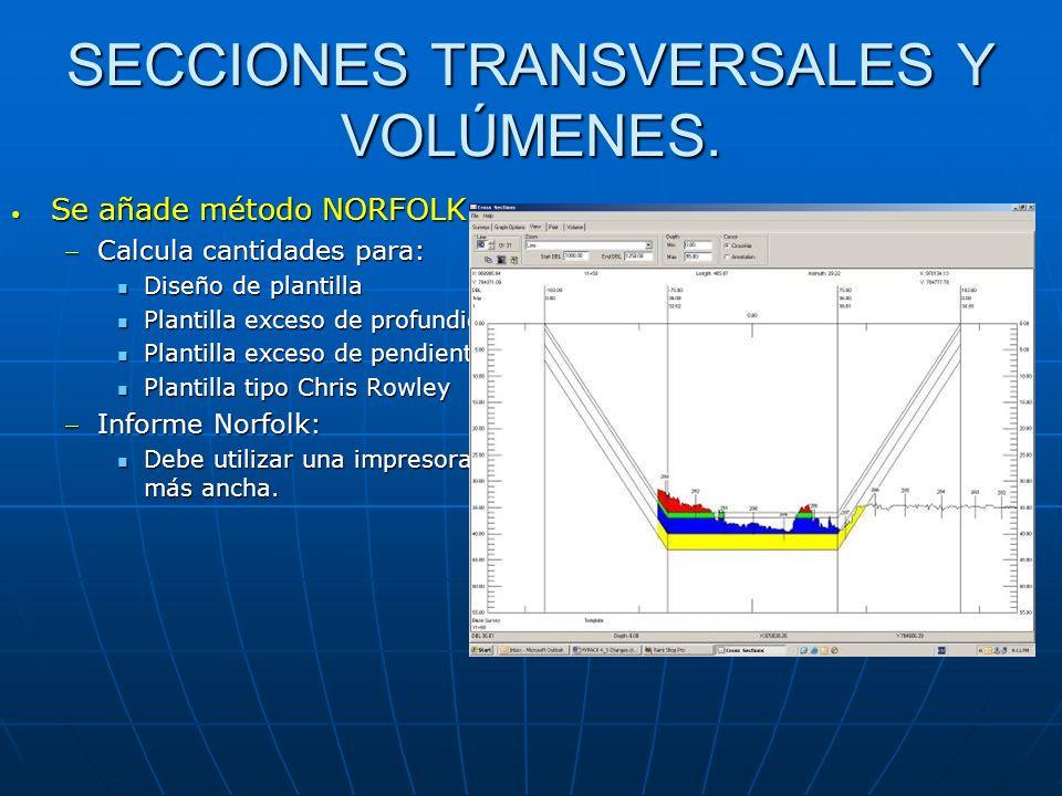 SECCIONES TRANSVERSALES Y VOLÚMENES. Se añade método NORFOLK Se añade método NORFOLK Calcula cantidades para:Calcula cantidades para: Diseño de planti