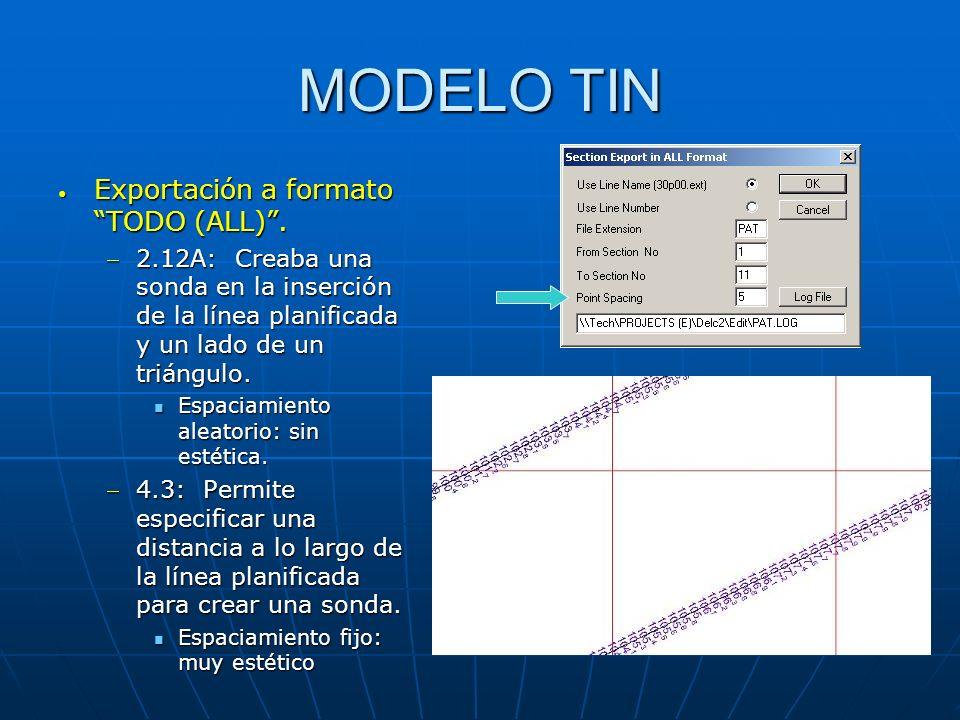 MODELO TIN Exportación a formato TODO (ALL). Exportación a formato TODO (ALL). 2.12A: Creaba una sonda en la inserción de la línea planificada y un la