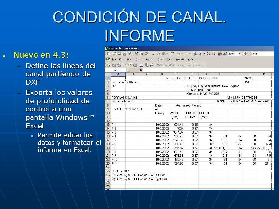 CONDICIÓN DE CANAL. INFORME Nuevo en 4.3: Nuevo en 4.3: Define las líneas del canal partiendo de DXFDefine las líneas del canal partiendo de DXF Expor