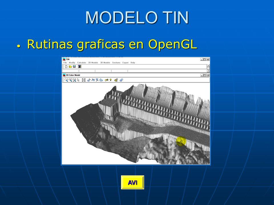 MODELO TIN Rutinas graficas en OpenGL Rutinas graficas en OpenGL AVI