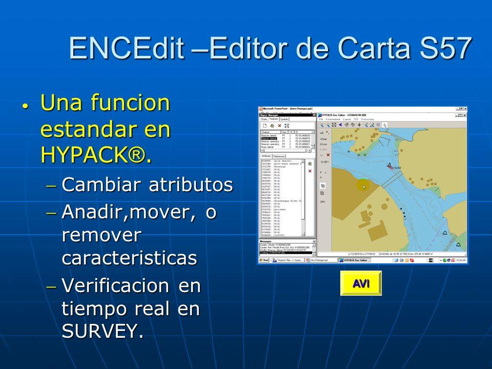 ENCEdit –Editor de Carta S57 Una funcion estandar en HYPACK ®. Una funcion estandar en HYPACK ®. Cambiar atributosCambiar atributos Anadir,mover, o re