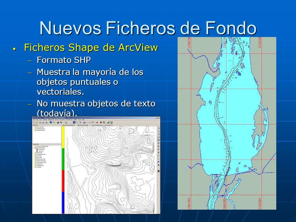 Nuevos Ficheros de Fondo Ficheros Shape de ArcView Ficheros Shape de ArcView Formato SHPFormato SHP Muestra la mayoría de los objetos puntuales o vect