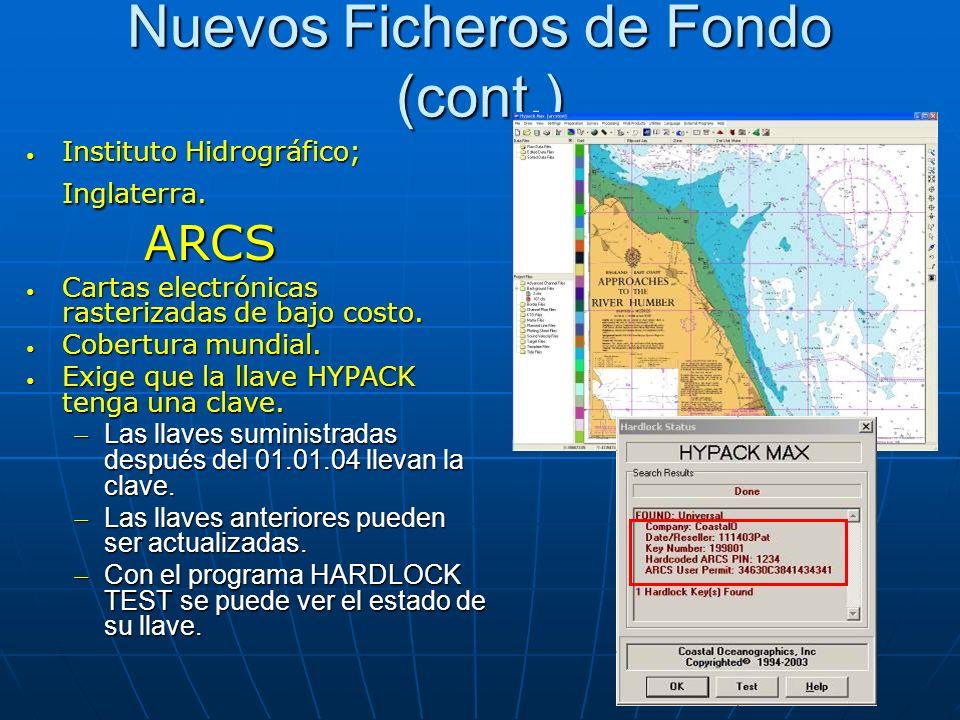 Nuevos Ficheros de Fondo (cont.) Instituto Hidrográfico; Inglaterra. Instituto Hidrográfico; Inglaterra. ARCS ARCS Cartas electrónicas rasterizadas de