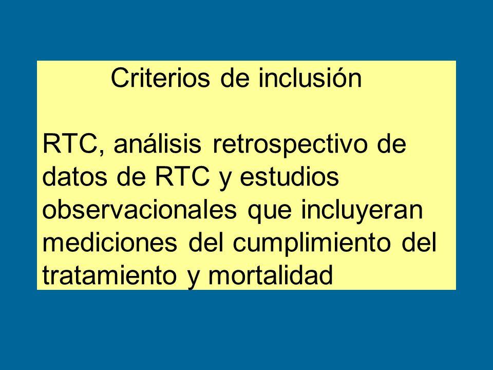 Criterios de inclusión RTC, análisis retrospectivo de datos de RTC y estudios observacionales que incluyeran mediciones del cumplimiento del tratamien