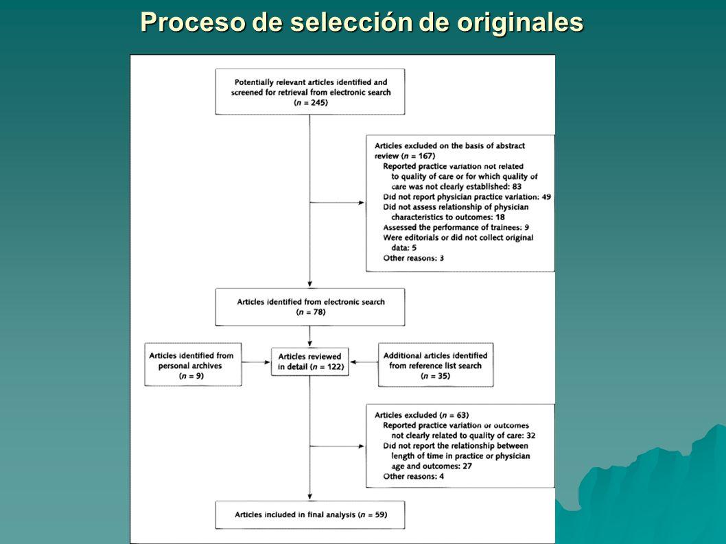 Proceso de selección de originales