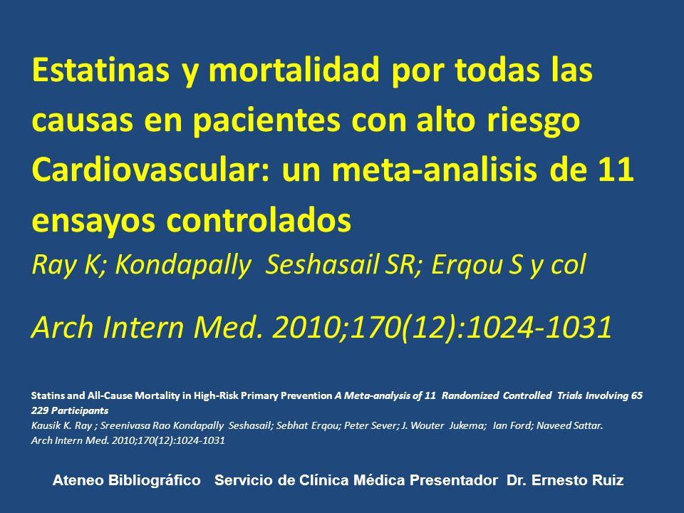Estatinas y mortalidad por todas las causas en pacientes con alto riesgo Cardiovascular: un meta-analisis de 11 ensayos controlados Ray K; Kondapally