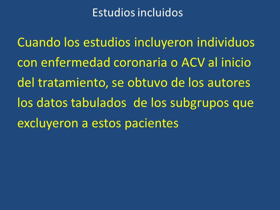 Estudios incluidos Cuando los estudios incluyeron individuos con enfermedad coronaria o ACV al inicio del tratamiento, se obtuvo de los autores los da