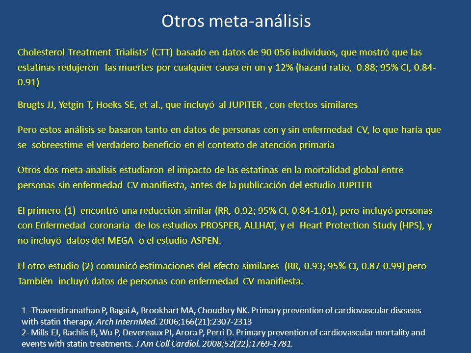 Otros meta-análisis Cholesterol Treatment Trialists (CTT) basado en datos de 90 056 individuos, que mostró que las estatinas redujeron las muertes por