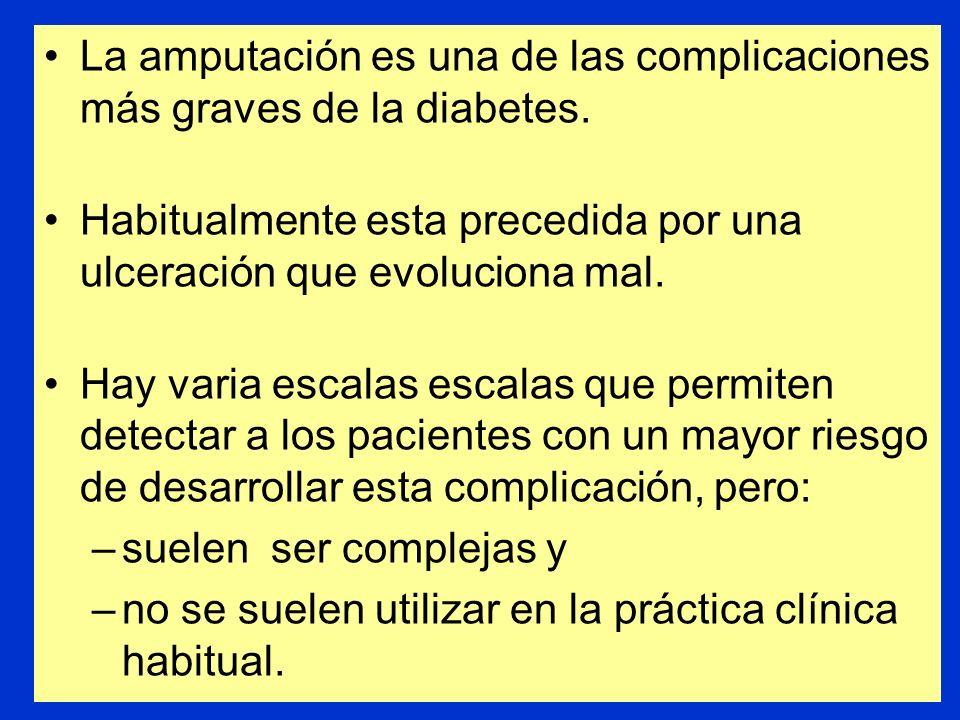 Utilidad de una escala de valoración sencilla para detectar a los pacientes diabéticos con riesgo elevado de úlceras en los pies Leese GP, Reid F, Gre