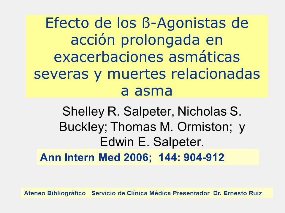 Efecto de los ß-Agonistas de acción prolongada en exacerbaciones asmáticas severas y muertes relacionadas a asma Shelley R.