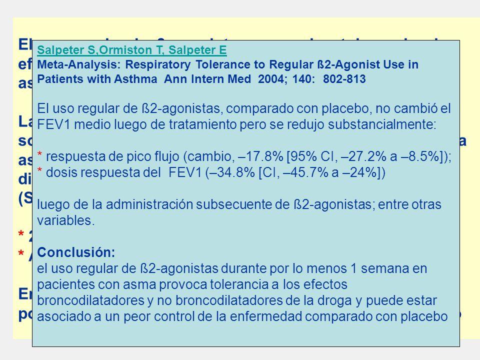 El uso regular de ß-agonistas se asocia a tolerancia a los efectos de la droga y desmejoramiento del control del asma.