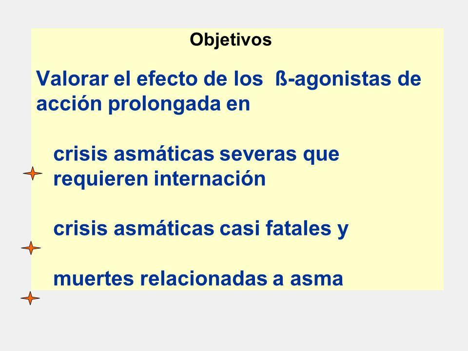 Objetivos Valorar el efecto de los ß-agonistas de acción prolongada en crisis asmáticas severas que requieren internación crisis asmáticas casi fatales y muertes relacionadas a asma