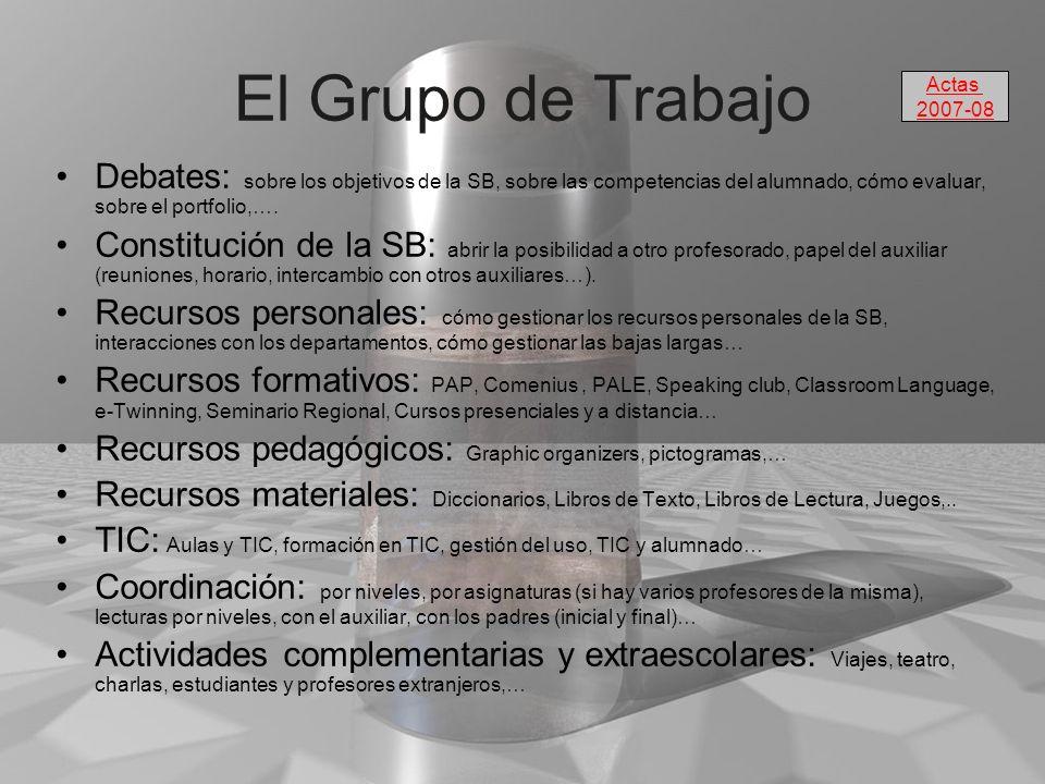 El Grupo de Trabajo Debates: sobre los objetivos de la SB, sobre las competencias del alumnado, cómo evaluar, sobre el portfolio,…. Constitución de la