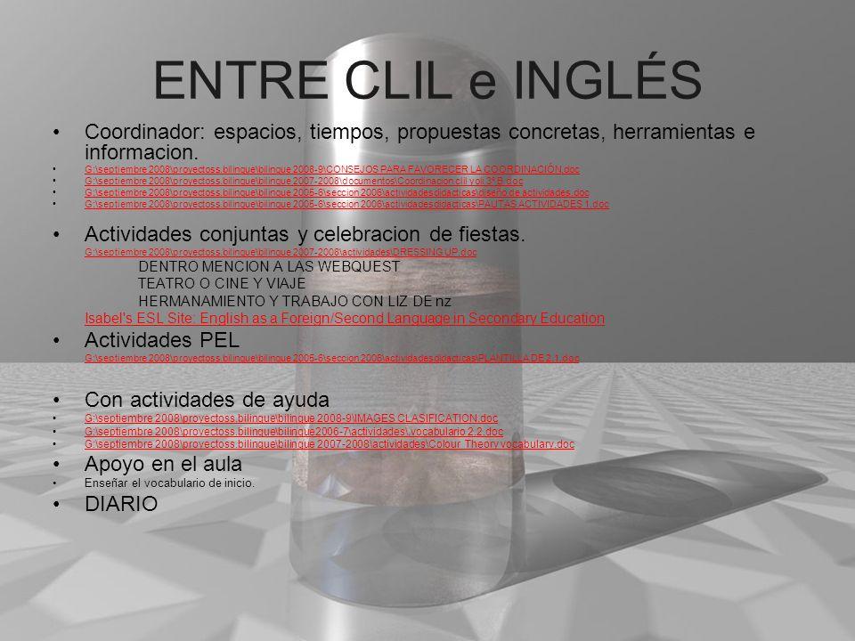 ENTRE CLIL e INGLÉS Coordinador: espacios, tiempos, propuestas concretas, herramientas e informacion. G:\septiembre 2008\proyectoss.bilingue\bilingue