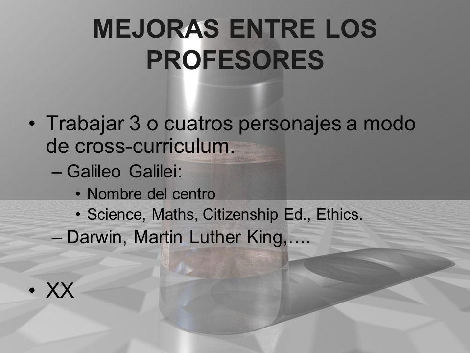 MEJORAS ENTRE LOS PROFESORES Trabajar 3 o cuatros personajes a modo de cross-curriculum. –Galileo Galilei: Nombre del centro Science, Maths, Citizensh