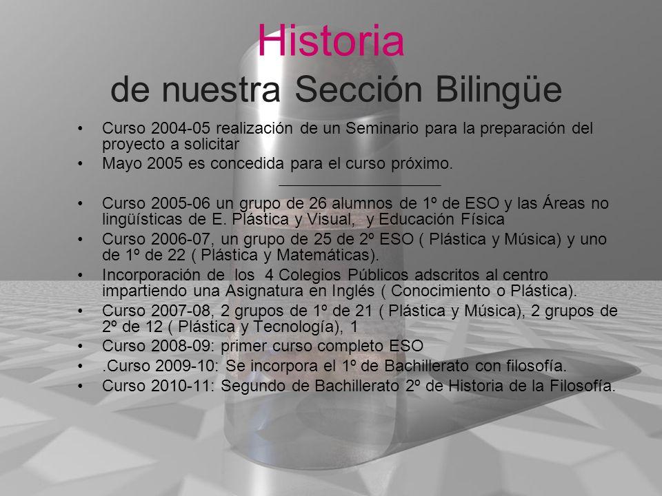 Historia de nuestra Sección Bilingüe Curso 2004-05 realización de un Seminario para la preparación del proyecto a solicitar Mayo 2005 es concedida par