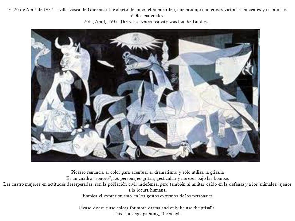 El 26 de Abril de 1937 la villa vasca de Guernica fue objeto de un cruel bombardeo, que produjo numerosas víctimas inocentes y cuantiosos daños materiales.