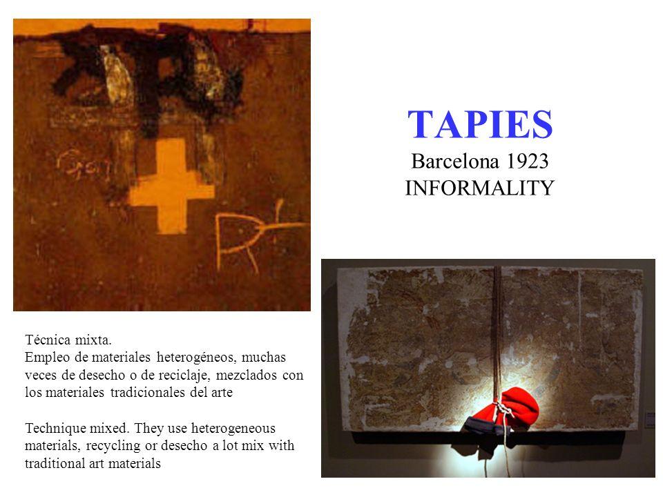 TAPIES Carácter iconográfico, utiliza signos como cruces, lunas, asteriscos, letras, números, figuras geométricas, etc.