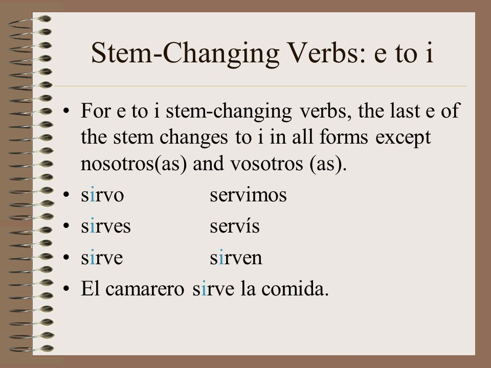 Stem-Changing Verbs: e to i For e to i stem-changing verbs, the last e of the stem changes to i in all forms except nosotros(as) and vosotros (as). si