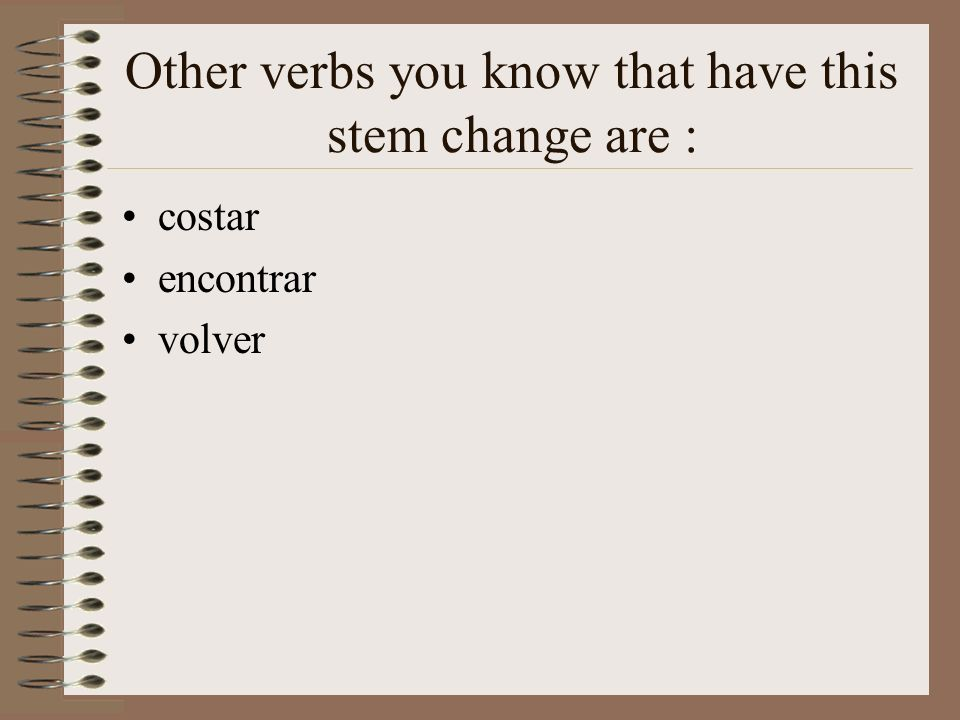 Stem-Changing Verbs: e to i For e to i stem-changing verbs, the last e of the stem changes to i in all forms except nosotros(as) and vosotros (as).