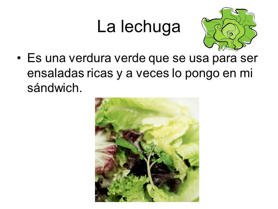 La lechuga Es una verdura verde que se usa para ser ensaladas ricas y a veces lo pongo en mi sándwich.