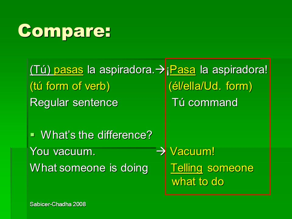 Sabicer-Chadha 2008 How do we form tú commands? We write commands in a special way. We use the ÉL/ELLA/UD. form of the verb. We write commands in a sp