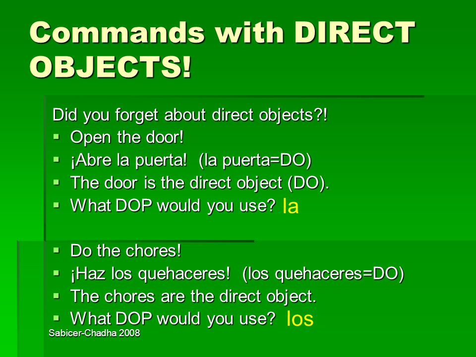 Sabicer-Chadha 2008 Commands with DIRECT OBJECTS.Did you forget about direct objects?.