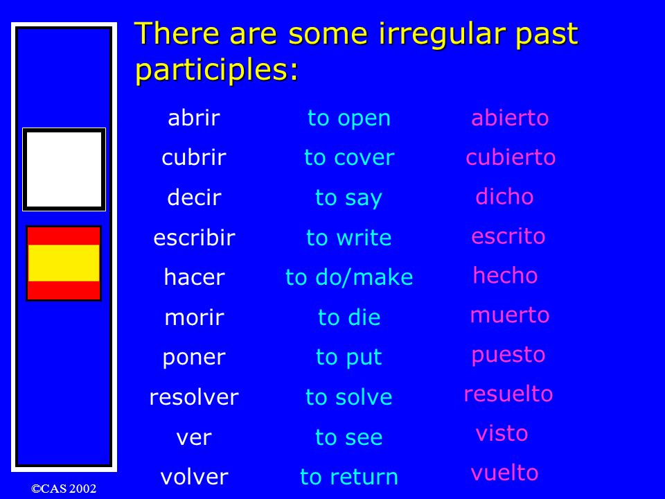 ©CAS 2002 Practice……… What are the past participles of these verbs ? bailaramarpermitir deberaprenderentrar temerviviradmitir desearesperarbeber decid
