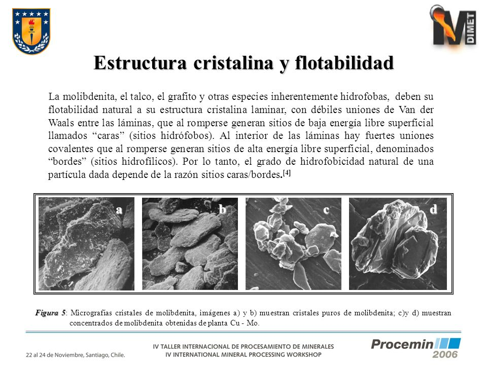 Estructura cristalina y flotabilidad Figura 5 Figura 5: Micrografías cristales de molibdenita, imágenes a) y b) muestran cristales puros de molibdenit