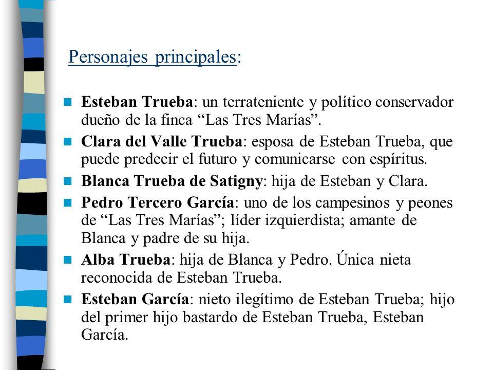 Personajes principales: Esteban Trueba: un terrateniente y político conservador dueño de la finca Las Tres Marías. Clara del Valle Trueba: esposa de E