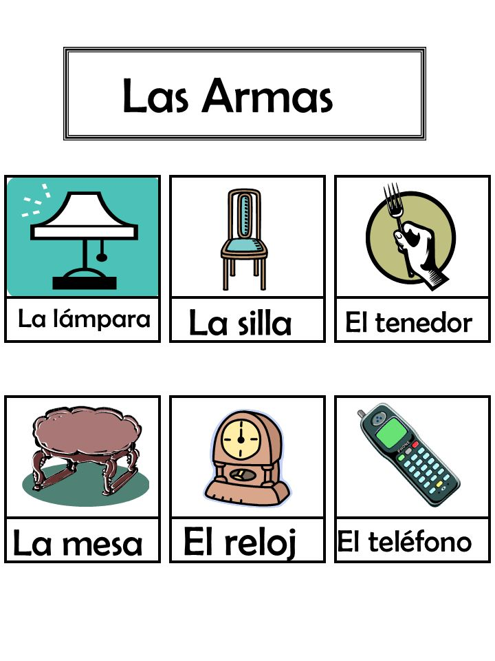 Las Armas La lámpara La silla La mesa El tenedor El reloj El teléfono