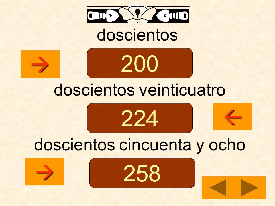 doscientos doscientos veinticuatro doscientos cincuenta y ocho 200 224 258