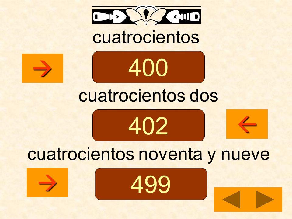 cuatrocientos cuatrocientos dos cuatrocientos noventa y nueve 400 402 499