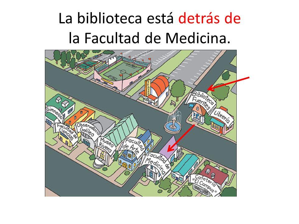 La biblioteca está detrás de la Facultad de Medicina.