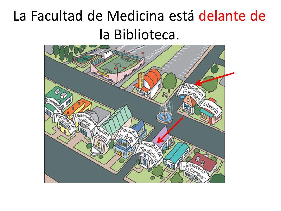 La Facultad de Medicina está delante de la Biblioteca.