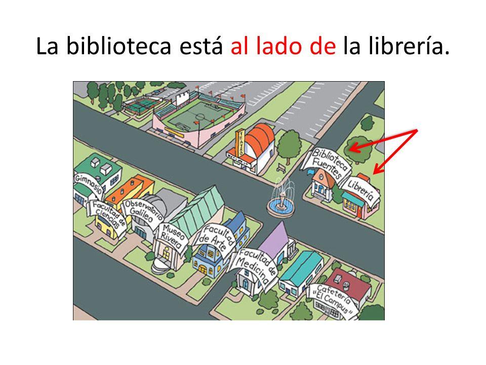 La biblioteca está al lado de la librería.