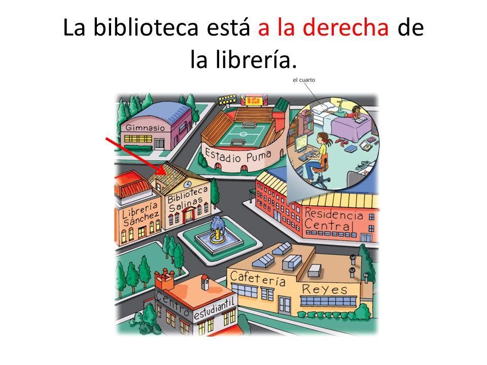 La librería está a la izquierda de la biblioteca.