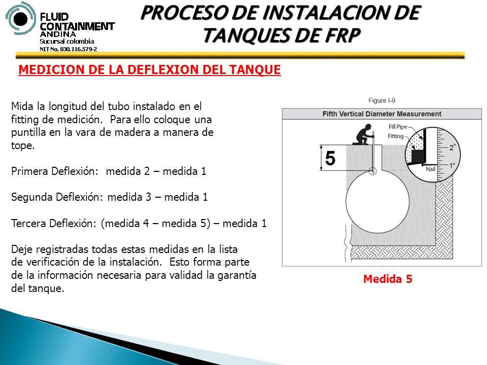 PROCESO DE INSTALACION DE TANQUES DE FRP MEDICION DE LA DEFLEXION DEL TANQUE Mida la longitud del tubo instalado en el fitting de medición. Para ello
