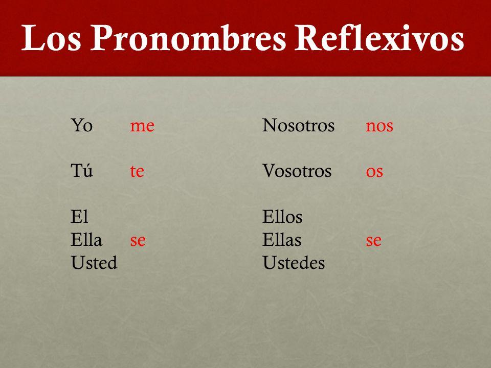 Los Pronombres Reflexivos Yo Tú El Ella Usted Nosotros Vosotros Ellos Ellas Ustedes me te se nos os se
