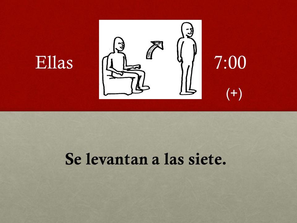 Se levantan a las siete. 7:00Ellas (+)