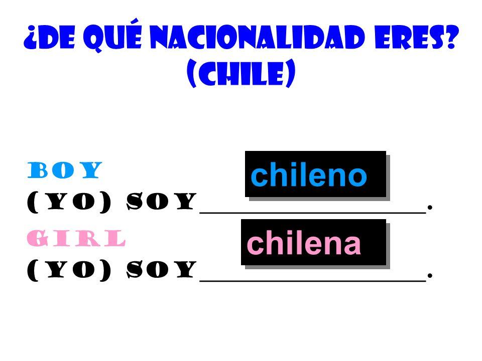 ¿cuÁl es tu nacionalidad? (Bolivia) Boy (yo) soy_____________________. girl (yo) soy_____________________. boliviano boliviana