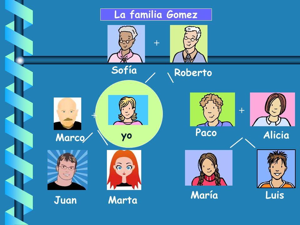 + Paco MaríaLuis AliciaIsabela Sofía Roberto La familia Gomez + yoMarta + Marco mi abuela mi abuelo mi padremi madre mi tío mi tía mi hermana mi prima