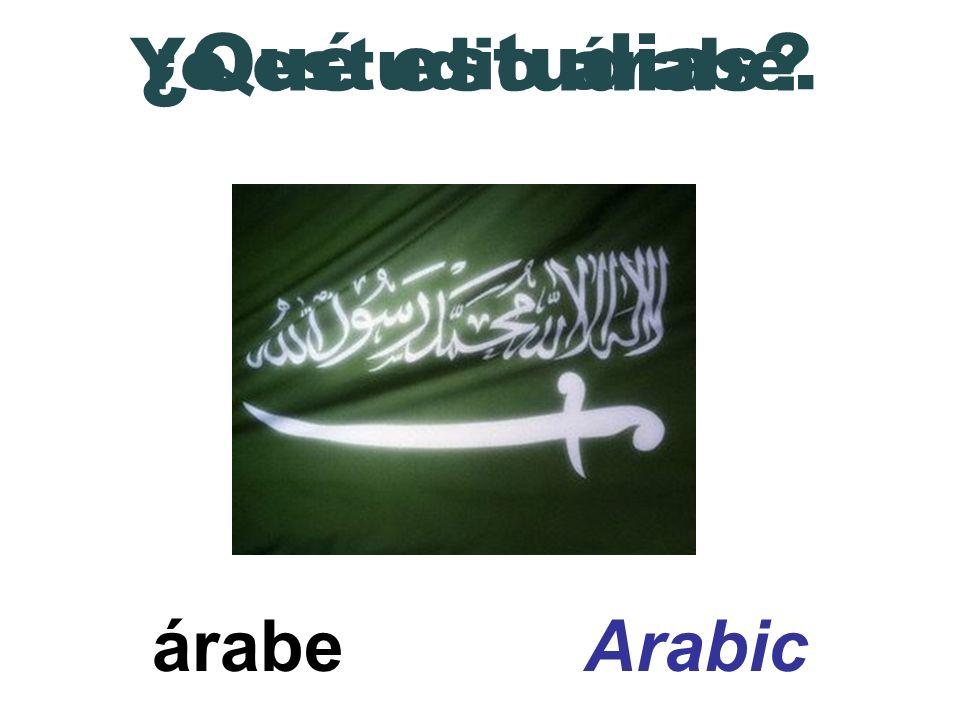 árabe Arabic ¿Qué estudias? Yo estudio árabe.