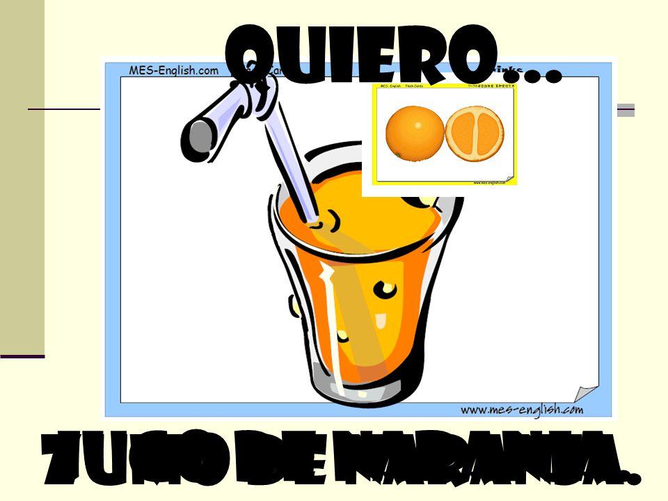 quiero… Jugo de naranja. zumo de naranja.