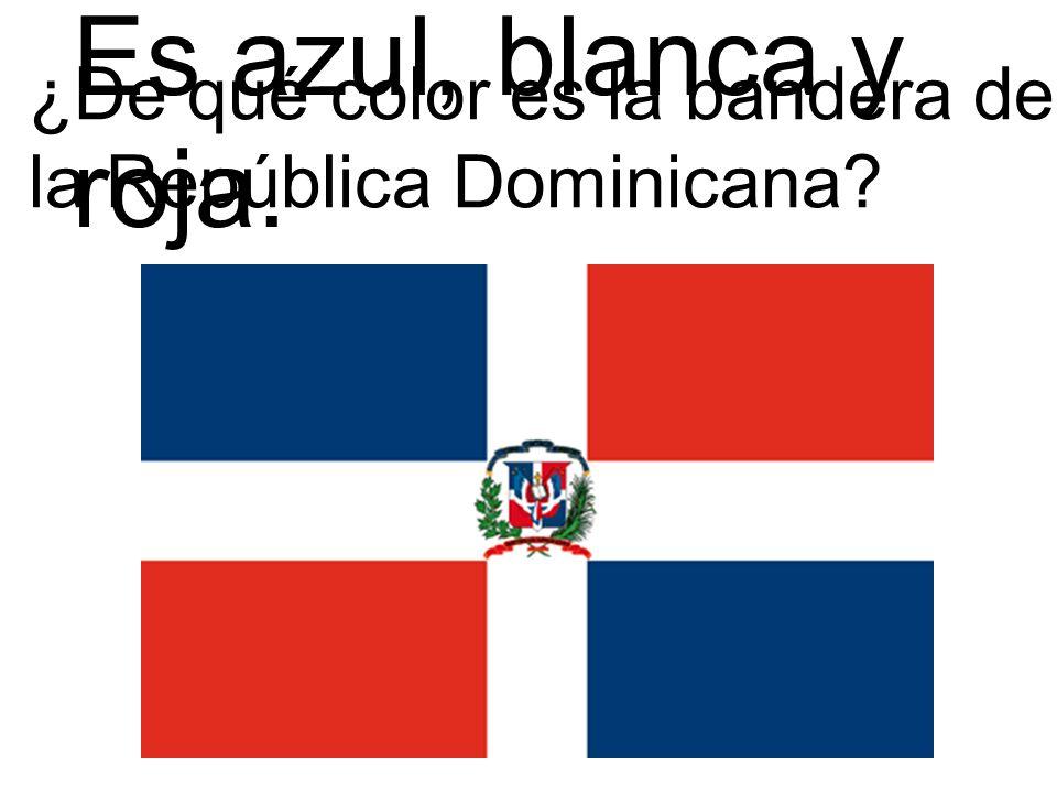 ¿De qué color es la bandera de la República Dominicana? Es azul, blanca y roja.