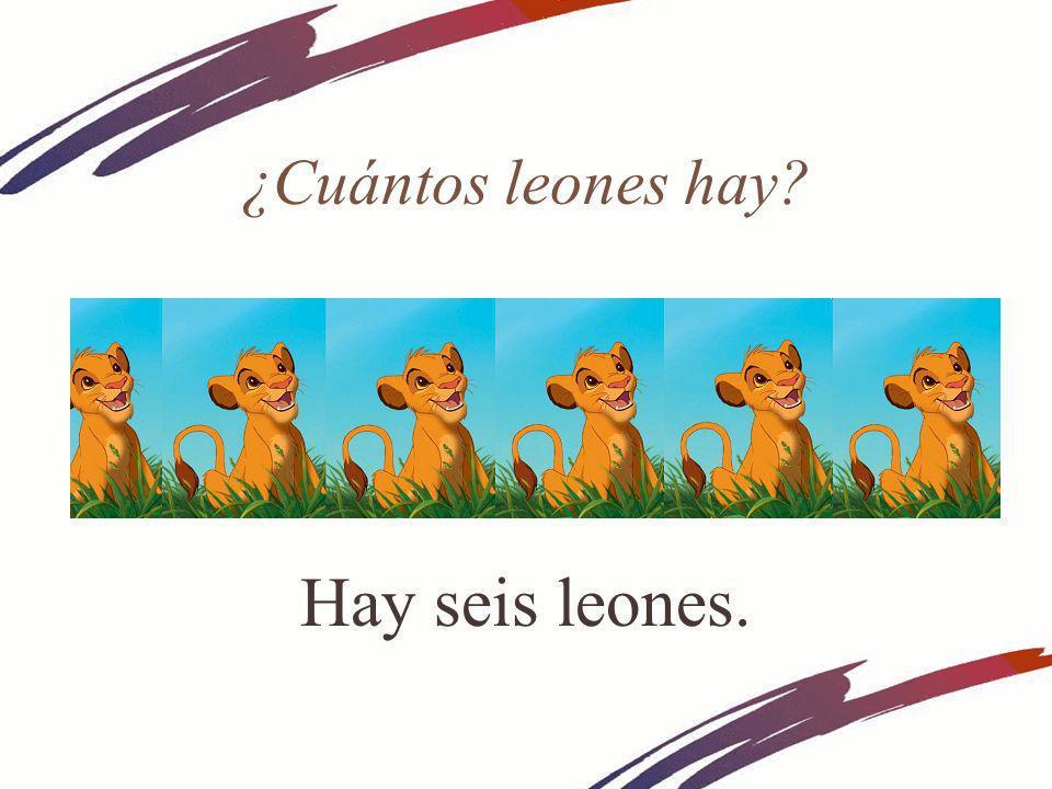 ¿Cuántos leones hay? Hay seis leones.