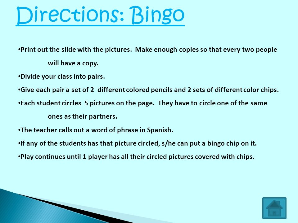 Print out the slide with the pictures. Make enough copies so that every two people will have a copy. Divide your class into pairs. Give each pair of s