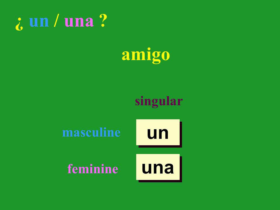 There are two words in Spanish that mean a or an. singular masculine feminine un una