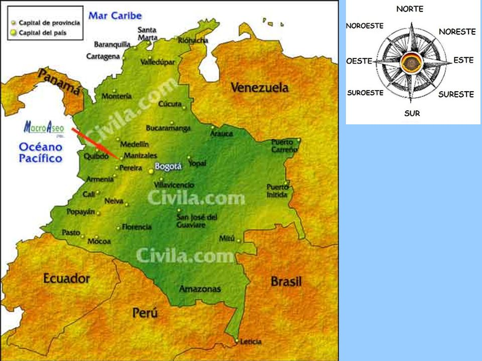 Colombia Colombia Capital: Bogotá ¿Dónde está : América del Sur Población: 45 millones Superficie: 439,736 millas cuadradas Lenguas: español, Religiones: católico Dinero: peso colombiano Productos: textiles, petróleo, carbón, café, oro, esmeralda, bananas, flores, productos farmacéuticos, azúcar